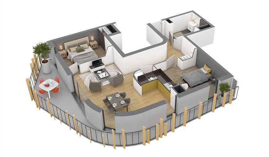 3D intérieur T3 neuf