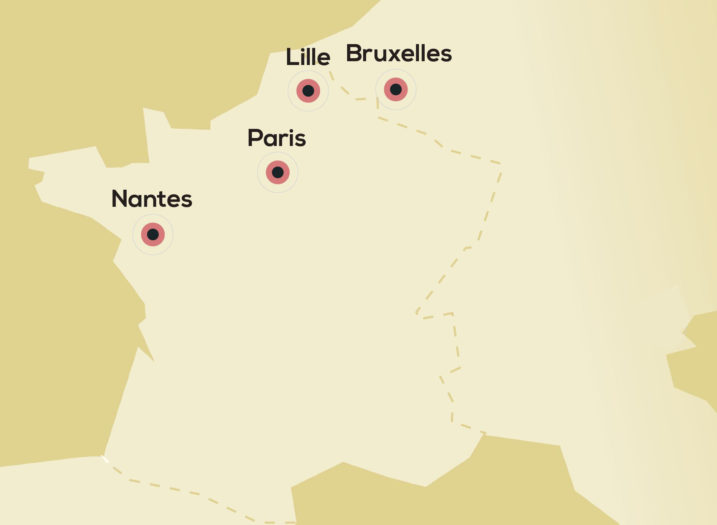 carte implantation Tolefi Nantes Lille Paris Bruxelles