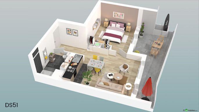 vue 3D intérieur logement